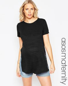 ASOS Maternity Tunic With Side Splits With Short Sleeves