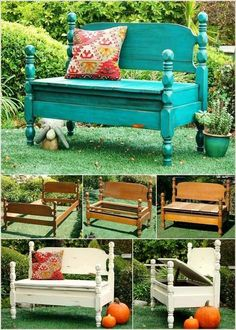 Bench made from an old bed frame
