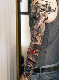 Sleeve Army Tank Tattoos On Males