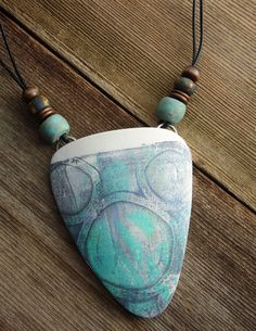 Polymer Clay Large Pendant Beach Jewelry featuring Abstract Circles Design in…