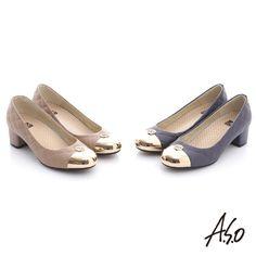 2990-經典時刻 牛皮菱形車格經典奢華粗跟鞋 卡其 4/4.5/5/8.5--4.5cm