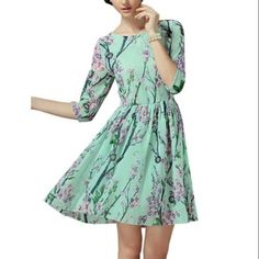 427f8fc73e2e Allegra K Women s Slim Fit Floral Short Dress Green (Size L   12)