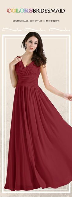 65c1a8bc00c3 This chiffon A-line long bridesmaid dress in dark red with v neckline  design is