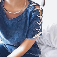 Denim lace up top #ootd #denim #fashion #pixiemarket