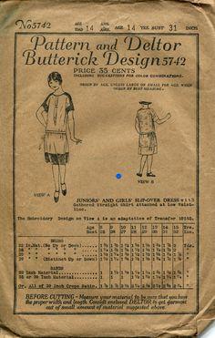 1920s Girls Dress Pattern Butterick 5742 Low Waist by retromonkeys