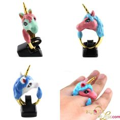 This ring features a unicorn hand-painted in colorful enamel. Pegasus, Mythical Creatures, Unicorns, My Little Pony, Usb Flash Drive, Hand Painted, Jewerly, Magical Creatures, Mythological Creatures