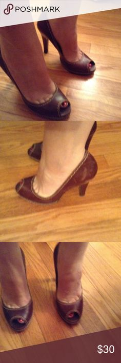 "Carlos by Carlos Santana Bungalow Pumps Size 7.5 Sassy pair of Carlos by Carlos Santana peep toe pumps in size 7.5 style is Bungalow. They are brown with a distressed look to them. Super cute and comfy on. Have been well loved.  Heel is approximately 3.75"" Carlos Santana Shoes Heels"