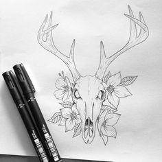 Beautiful Death #art #illustration #deer #skull #flower #tattoo #bnw