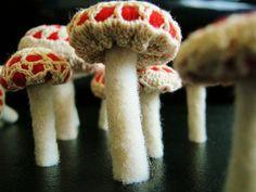 Mushrooms wool felt and doily