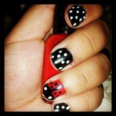 How I do ladybug nails Ladybug Nails, Nail Designs, Hair Beauty, Makeup, Make Up, Nail Desings, Beauty Makeup, Nail Design