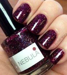 "nerd lacquer ""nebula"" - burgundy jelly full of different sized holo particles. Love Nails, How To Do Nails, Pretty Nails, Fun Nails, All Things Beauty, Beauty Make Up, Colorful Nail Designs, It Goes On, Nail Polish Colors"