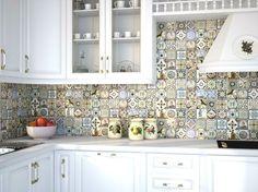 Фартук на кухне из керамической плитки орнамент - Yuterra Colors