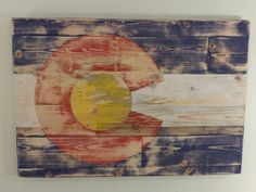 Handmade, distressed, stained Colorado Flag made from local Beetle Kill Pine Wood. 24 x 36 inches #papertreepress