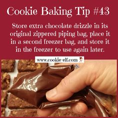Cookie Baking Tip #43: how to store and re-use leftover chocolate drizzle. More cookie baking tips: http://www.cookie-elf.com/baking-cookies-tips.html#sthash.7hI0hiR1.dpbs
