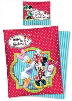 Lenjerie de pat Minnie si Daisy rosu din materialel antialergic, antiperspirant