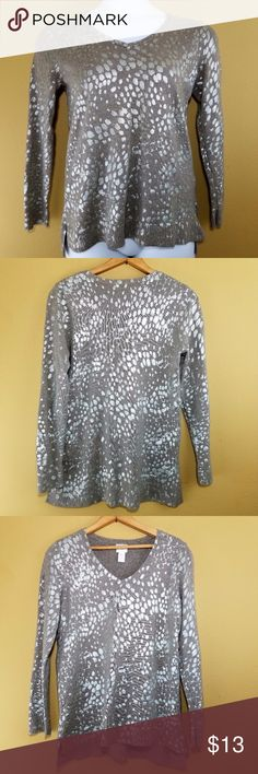 """Chicos Silver Metallic Sweater Chico's Brand: Chicos Size: Chicos 0 Regular 4 Condition: Preloved, no holes, no tears, no stains. Color: Taupe with silver metallic 100% Cotton Made in China Shoulder to shoulder: 14"""" Underarm to underarm: 18"""" Length: 27"""" Chico's Sweaters Crew & Scoop Necks"""