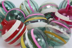 Vintage Christmas Ornaments Shiny Brite WWII Unslivered Striped Glass Original Box - Set of 12