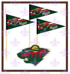 MINNESOTA WILD - Hockey-Cupcake Toppers - 12 Banner Toppers - Any Team Available! -Birthdays - Weddings - Tail Gate - Party Supplies by MardiGrasToppers on Etsy https://www.etsy.com/listing/266163022/minnesota-wild-hockey-cupcake-toppers-12