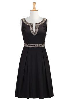 Graphic Embroidered Retro Dress, Embellished Fit-And-Flare Dresses Shop women's fashion dresses, Party dresses, women's party dresses, womens long sleeve dresses | eShakti.com