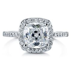 Cushion Cut Clear Cubic Zirconia 925 Sterling Silver Halo Ring 1.67 Ct