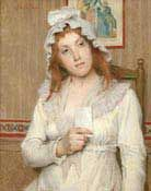 "Tony Robert-Fleury, France, 1838-1912, Lady with letter, oil on canvas, 16"" x 13"", signed: $7,700"