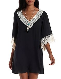 Lace-Trim Deep V Shift Dress: Charlotte Russe