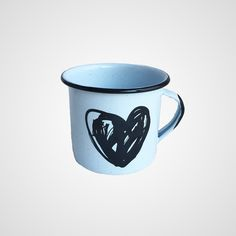 Enamel Mug Heart Drawing by ArTradition on Etsy