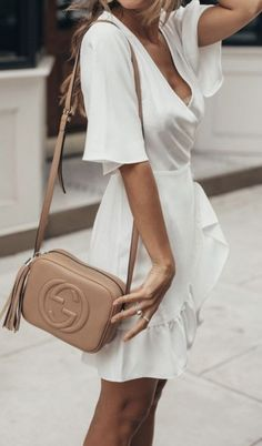 607b071d4666 white dresses + gucci crossbody leather bag | womens outfit ideas | street  style Soho Disco