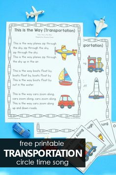 Transportation Preschool Circle Time Song and activities with free printable song option or expanded class book and easy reader options for preschool and kindergarten. Preschool Circle Time Songs, Preschool Songs, Preschool Lesson Plans, Kids Songs, Preschool Ideas, Transportation Preschool Activities, Transportation Theme Preschool, Music Activities, Project Based Learning