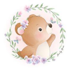 Illustration Mignonne, Love Illustration, Floral Illustrations, Cartoon Drawings, Cute Drawings, Doodles Bonitos, Cartoon Mignon, Doodle Bear, Animal Illustrations