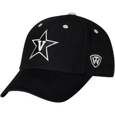 87b96c481a7 Men s Top of the World Black Vanderbilt Commodores Top Dynasty Fitted Hat