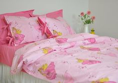 Pink Duvet Cover Set for Girls, Twin Twin XL Full Queen, Fairy Princess Print Kids Bedding Set, Duvet Cover & Pillowcases for Toddler Girls