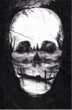 Skull outline with land boat & water art