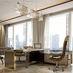 LEATHER DESK WITH 24CT GOLD  | Taylor Llorente Furniture