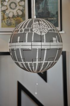 """So this is a Universal Solution for all Star Wars lovers . My son saw it and said """"BUY IT!"""" IKEA PS lamp goes (exploding) Death Star - IKEA Hackers Ikea Ps 2014, Death Star Explosion, Ikea Hacks, Ikea Lamp Shade, Star Wars Bathroom, Star Laser, Star Wars Room, Houses, Ideas"""