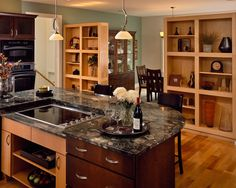 Kitchen Photos Granite Countertop With Dark Wood Cabinets Design Ideas, Pictures, Remodel, and Decor - page 58 Kitchen Island With Cooktop, Island Cooktop, Kitchen Layouts With Island, Island Stove, Kitchen Islands, Rustic Kitchen, New Kitchen, Kitchen Ideas, Kitchen Cook