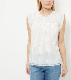 White Stripe Ruffle Sleeve Top  | New Look