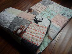 Modern Baby Quilt Hello Bear Fabric Bear, Deer, raccoons, trees, arrows, polka dots, coral, mint, gray