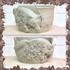 Special commission Fox yarn bowl by Earth Wool & Fire.