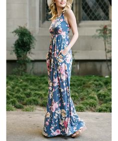 Take a look at this Blue Floral Pocket Maxi Dress today!
