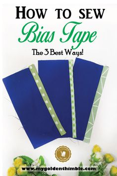 Learn the top 3 best ways on how to sew bias tape on binding, on quilts, and over the edge of any fabric. Enjoy the bonus video of the techniques at the end. Easy Sewing Projects, Sewing Projects For Beginners, Sewing Hacks, Sewing Tutorials, Sewing Crafts, Sewing Patterns, Sewing Tips, Sewing Ideas, Dress Patterns