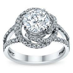 Supreme 18K White Gold Diamond Engagement Ring Setting 3/4 Carat Total Weight