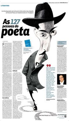 Caricature by Kleber Sales Fernando Pessoa. one of the best Portuguese poets Editorial Layout, Editorial Design, Newspaper Design Layout, Magazin Design, Newspaper Art, Yearbook Layouts, Magazine Layout Design, Publication Design, Graphic Design Typography