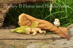 shelley b home and holiday miniature garden collection, sleeping fairy babies with baby animals. figures to decorate your flowers and plants