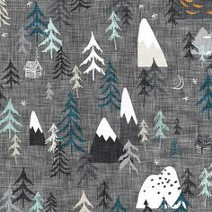 Forest Peaks Fabric by the Yard Childrens Fabric Cotton Nursery Fabric Woodland Mountains Camping Trees Quilting Fabric 6022134 Nursery Fabric, Nursery Bedding, Sewing Projects, Craft Projects, Sewing Ideas, Woodland Fabric, Stoff Design, Thing 1, Cotton Twill Fabric