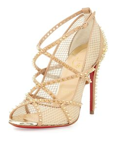 Christian Louboutin Alarc Mini-Spike Mesh Red Sole Sandal, Nude/Light Gold