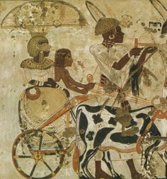 A Nubian Princess in her ox-chariot, from the Egyptian tomb of Huy, 1320 BC