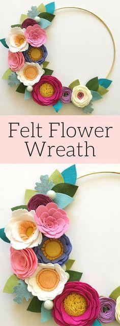 Felt Flower Wreath // Flower Wreath // Modern Wreath // Gold Hoop Wreath // Nursery Decor // Unicorn Wreath // Floral Wreath // Handmade decor, Handmade floral wreath #affiliatelink