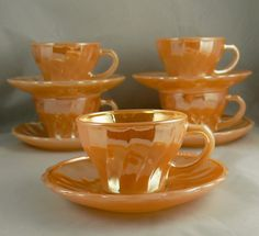 5 Vintage Fire King Peach Lustre Demi Cups & by jujubeezcloset, $25.00