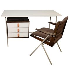 Knoll and Drake Desk and Chair | From a unique collection of antique and modern desks and writing tables at https://www.1stdibs.com/furniture/tables/desks-writing-tables/